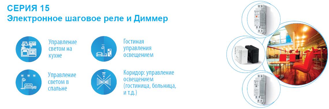 СЕРИЯ 15 Электронное шаговое реле и диммеры Finder