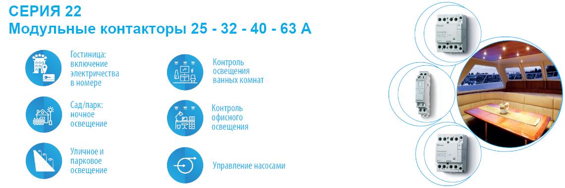 СЕРИЯ 22 Модульные контакторы 25 - 32 - 40 - 63A