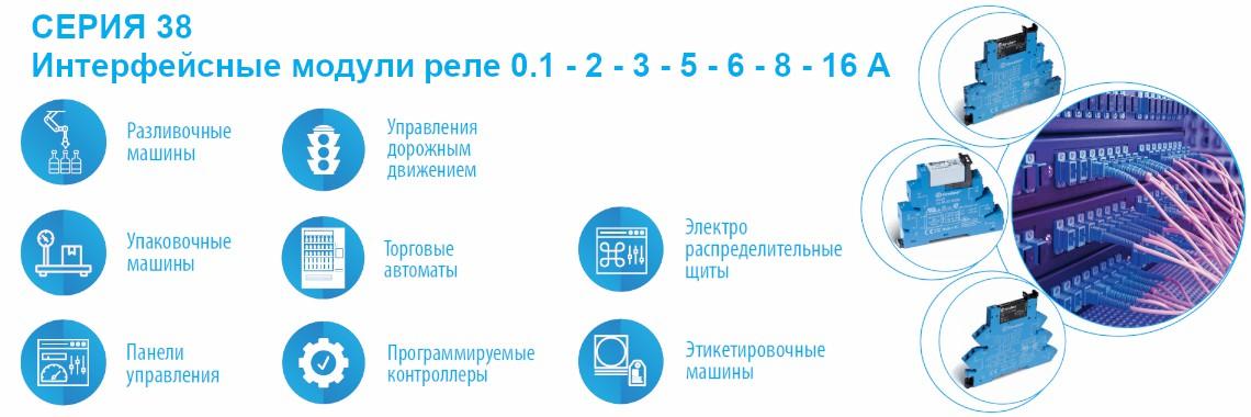 СЕРИЯ 38 Интерфейсные модули реле 0.1 - 2 - 3 - 5 - 6 - 8 - 16A