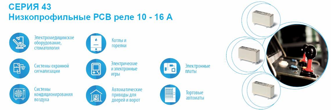 СЕРИЯ 43 Низкопрофильные РСВ реле 10 - 16А Finder