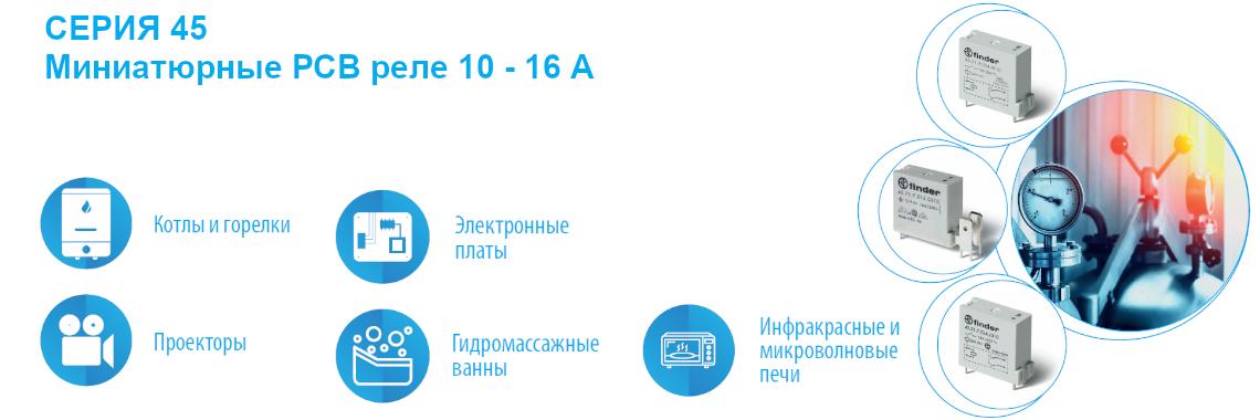 СЕРИЯ 45 Миниатюрные РСВ реле 10 - 16А Finder