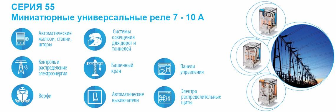 СЕРИЯ 55 Миниaтюрныe унивeрсaльныe рeлe 7 - 10A Finder