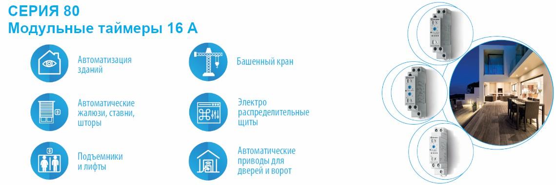 СЕРИЯ 80 Модульные таймеры Finder 16A