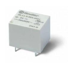 Миниатюрное электромеханическое реле; монтаж на печатную плату; формат 'кубик сахара'; 1CO 10A; Контакты AgSnO2; катушка 3В DС; влагозащита RTIII; упаковка 25 шт.