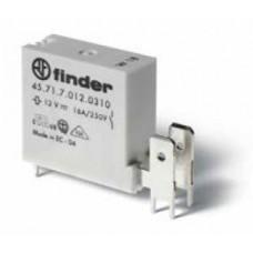457170120410, Низкопрофильное миниатюрное электромеханическое реле; монтаж на печатную плату; выводы с шагом 5мм + Faston 250(6.3x0.8мм); 1NC 16A; контакты AgCdO; катушка 12В DС (чувствит.); степень защиты RTII