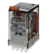 553492200020, Миниатюрное универсальное электромеханическое реле; монтаж в розетку; 4CO 7A; контакты AgNi; катушка 220B DC; степень защиты RTI; опции: мех.индикатор