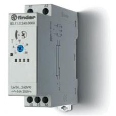 Модульный таймер 1-функциональный (AI); питание 24…240В АС-DC; 1CO 16A; ширина 22.5мм; регулировка времени 0.05с…10дней; степень защиты IP20; упаковка 5 шт.