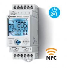 840202300000PAS, Электронный таймер мультифункциональный (25 функций); 2 независимых канала 1CO (16A) + 1CO (16A); питание 110…240В АС/DC; дисплей с подсветкой; два режима программирования: NFC или классический; регулировка времени от 0.1с. до 9999ч.; упаковка 1шт.